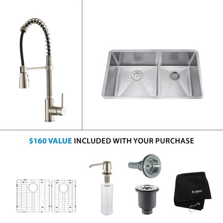 32.75 in. Double Bowl Stainless Steel Kitchen Sink