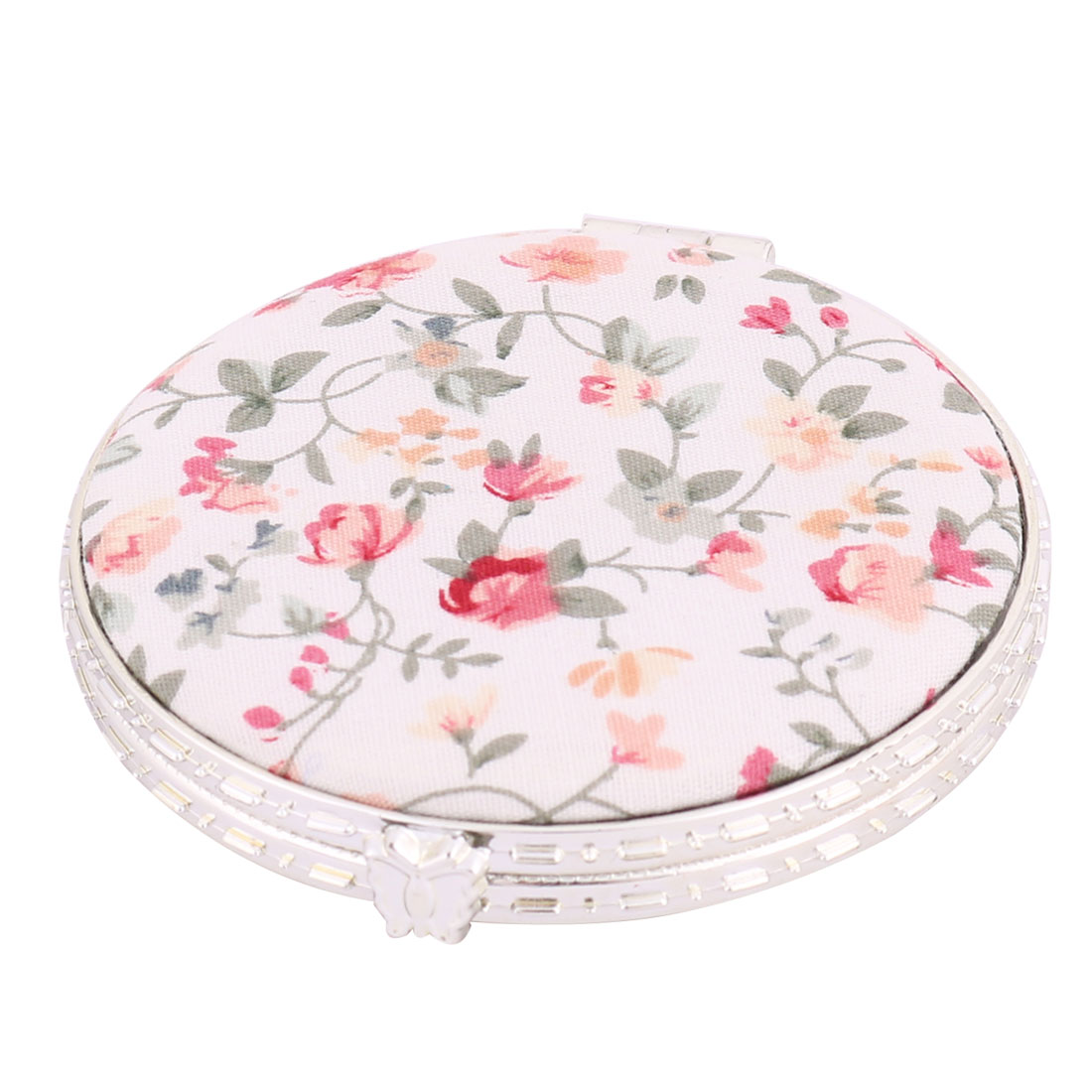 Lady Round Shaped Flower Pattern Dual-side Folding Compact Makeup Mirror White