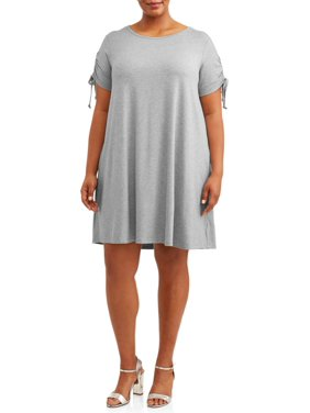 Terra & Sky Women's Plus Size Ruched Tie Sleeve Dress