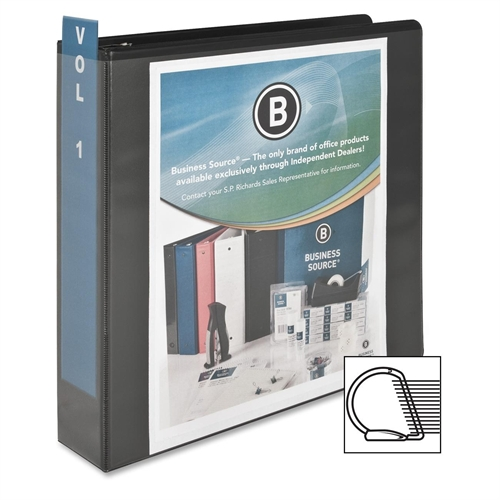 Business Source D-Ring View Binder, 2'' Capacity, Black (Set of 2)