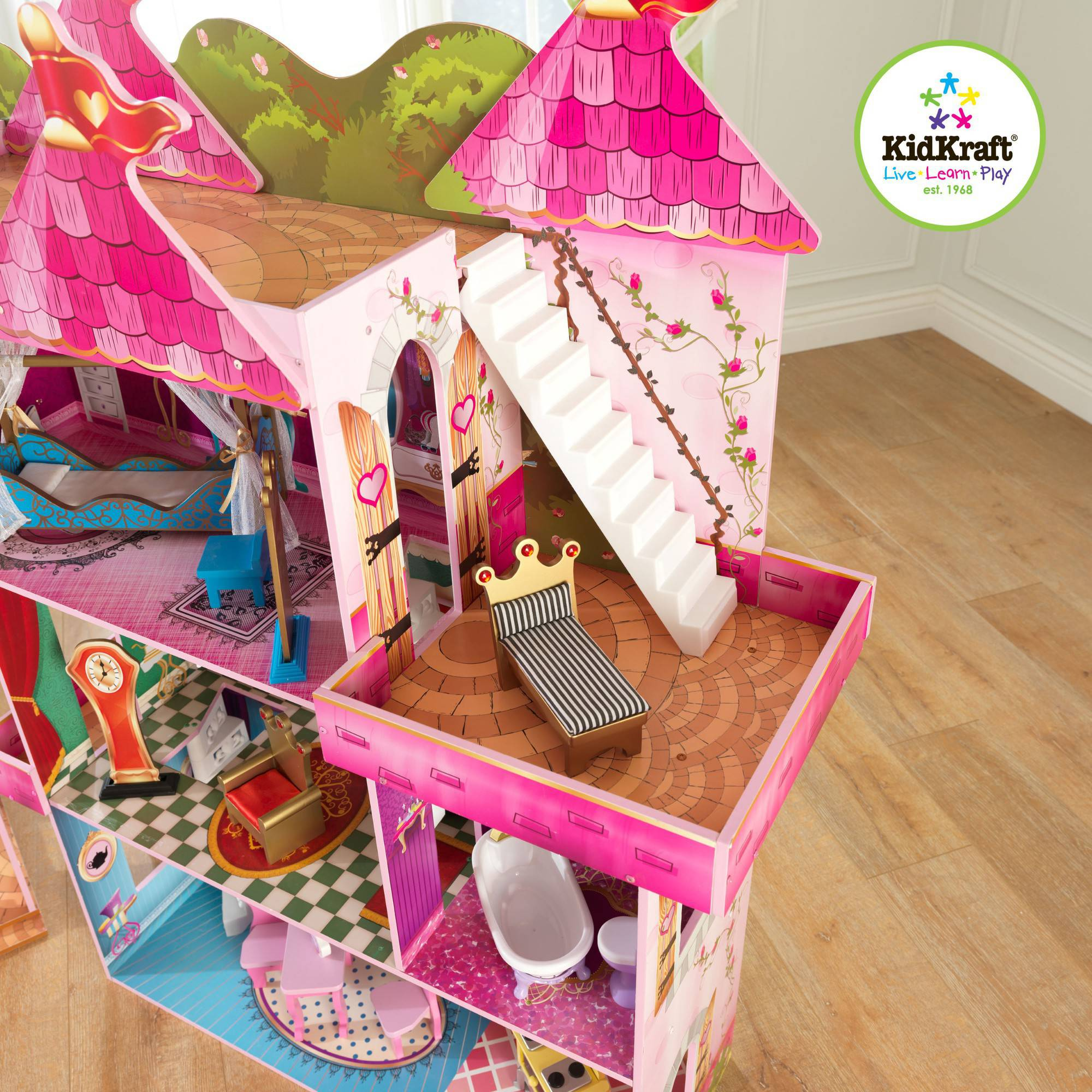 KidKraft Storybook Wooden Mansion with 14 Pieces of Furniture ... - ^