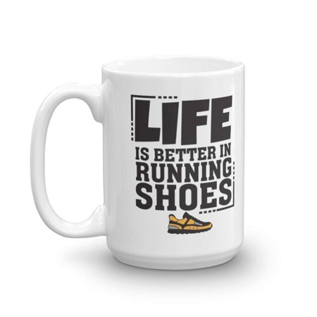 Life Is Better In Running Shoes Coffee & Tea Gift Mug for a Long Distance Marathon Runner