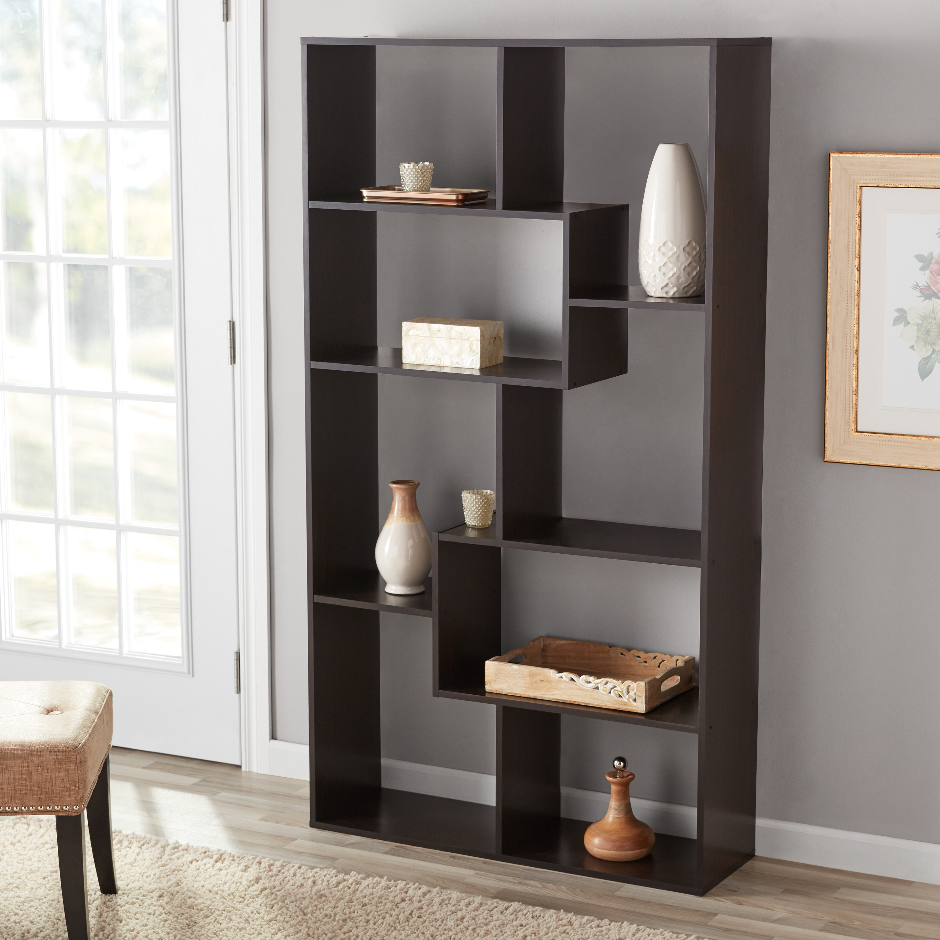 Mainstays 8-Cube Bookcase, White or Espresso