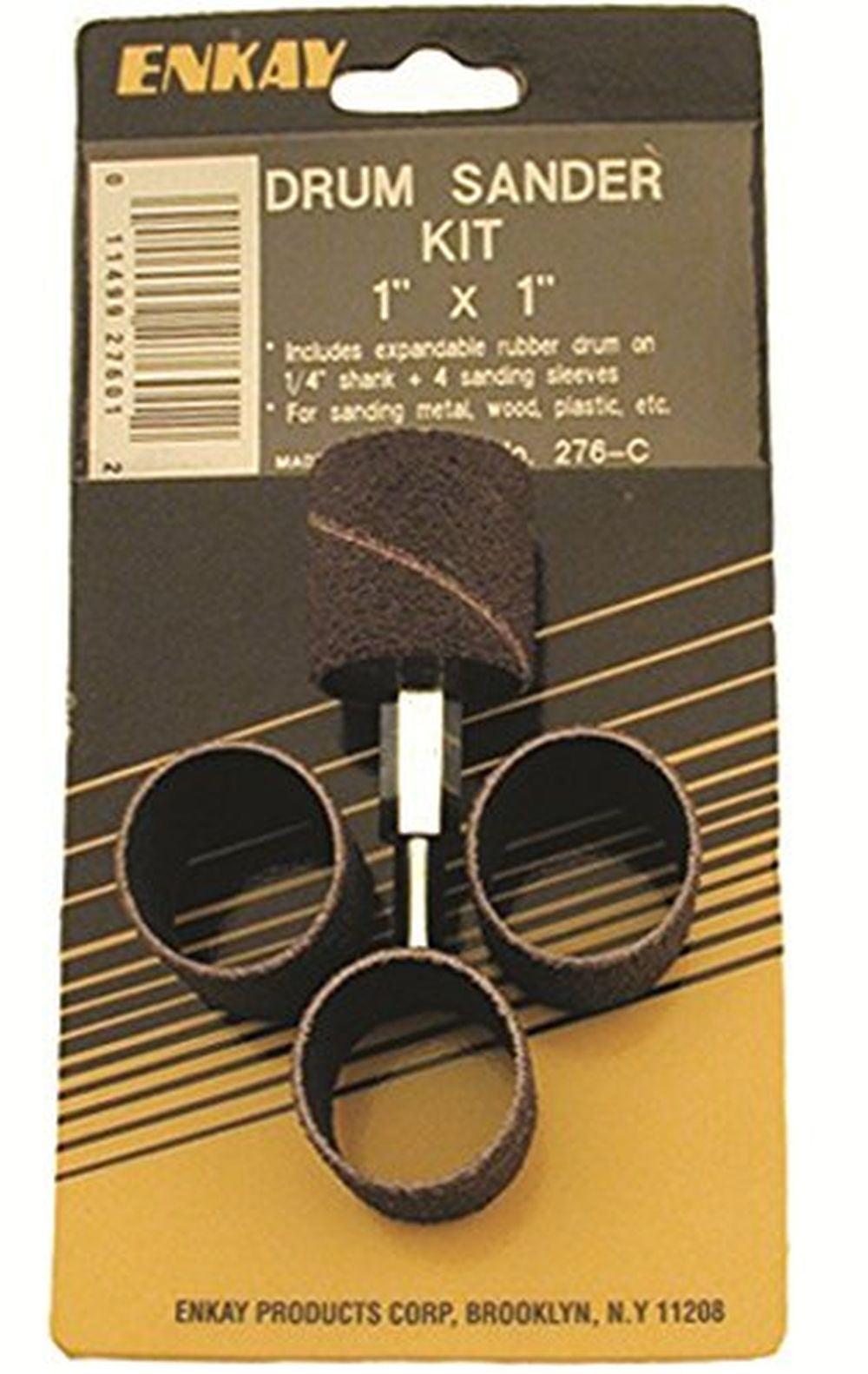 """Enkay 276-C 1"""" x 1"""" Drum Sander Kit, 1 4"""" Shank, Carded by Enkay"""