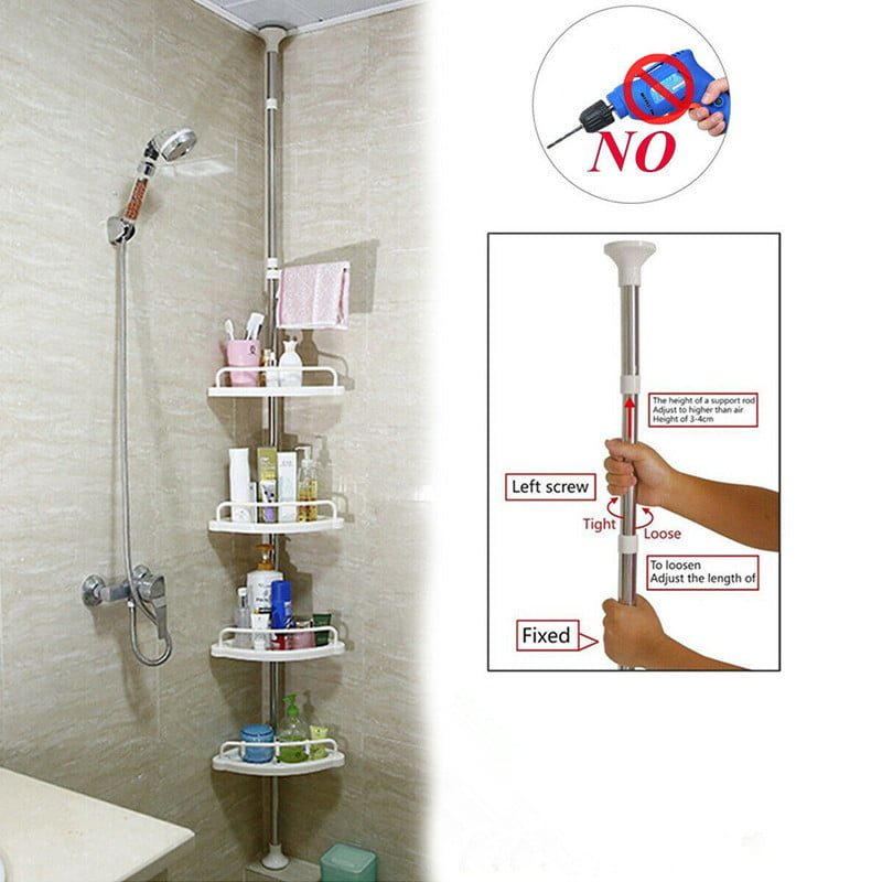4 Tier Bathroom Corner Shelf Telescopic Corner Shower Caddy Storage Rack Tower Organizer Stainless Steel Pole Rustproof White Walmart Com Walmart Com