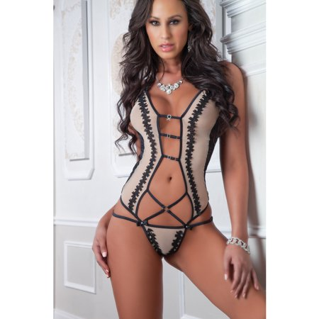Retro Embroidered Teddy Nude Noir O/s (Retro Nude)