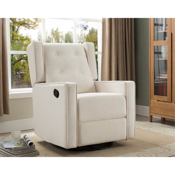 Odelia Swivel Glider Rocker Recliner by Naomi Home-Color:Cream,Fabric:Microfiber