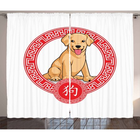 Chinese Zodiac Dog (Year of the Dog Curtains 2 Panels Set, Chinese Zodiac Animal Traditional Geometric Shapes Lunar Year, Window Drapes for Living Room Bedroom, 108W X 108L Inches, Pale Brown and Vermilion,)