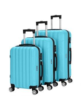 3PCS Luggage Travel Set Bag ABS Trolley Hard Shell Suitcase w/TSA lock