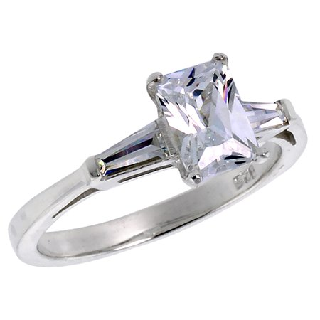 - Sterling Silver Cubic Zirconia Emerald Cut Engagement Ring Tapered Baguettes 1 ct, sizes 6 - 10