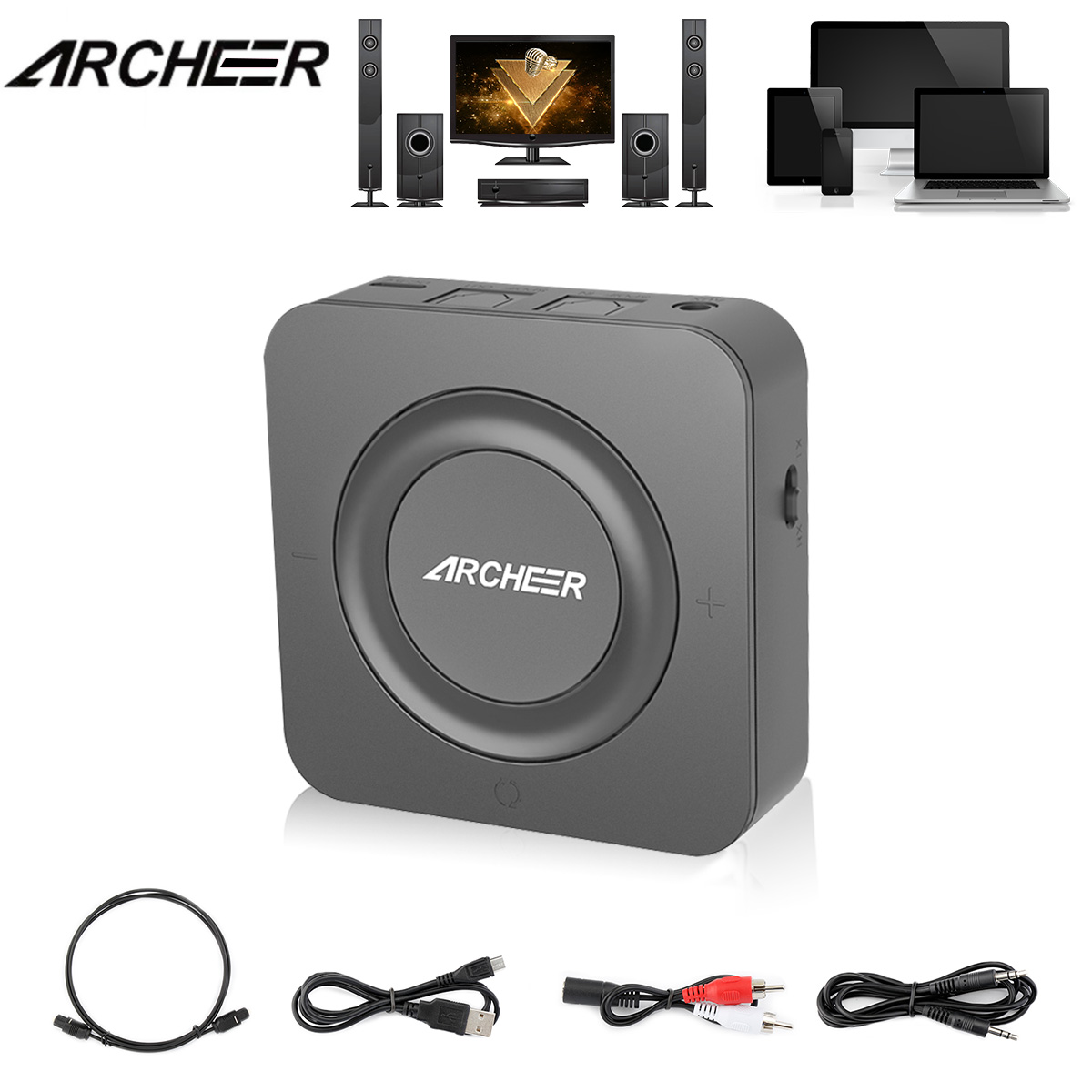 bluetooth 4.1 Transmitter and Receiver, ARCHEER 3.5mm (AUX and RCA) Wireless Audio Adapter Digital Optical TOSLINK (SPDIF), Pair 2 At Once, Aptx Low Latency, for TV / Home Stereo