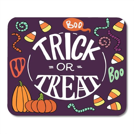 LADDKE Colorful Halloween Doodles Cartoon Candy Corns Pumpkins Worms Trick Threat Hand Lettering Mousepad Mouse Pad Mouse Mat 9x10 inch (Cool Halloween Doodles)