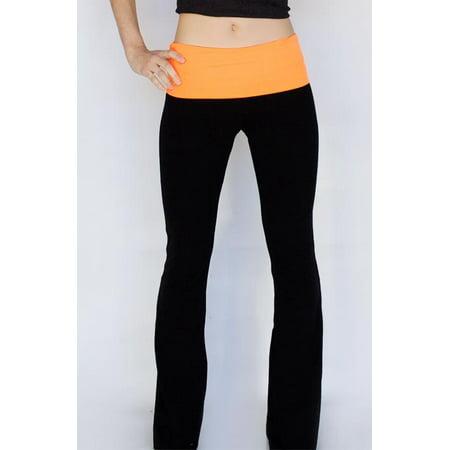 47ec6410920eb8 Appleletics - Popular Basics Women s Cotton Yoga Pants With Fold Down Waist  (BlkNOrangeu