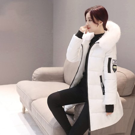 Hot Sale Fashion Women Long Down Cotton Parka Fur Collar Hooded Coat Winter Warm Jacket(White)