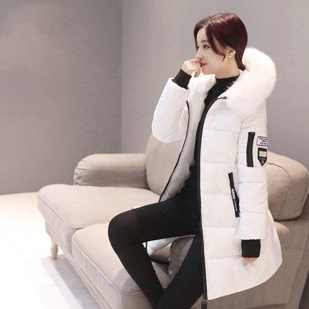 (Hot Sale Fashion Women Long Down Cotton Parka Fur Collar Hooded Coat Winter Warm Jacket(White))