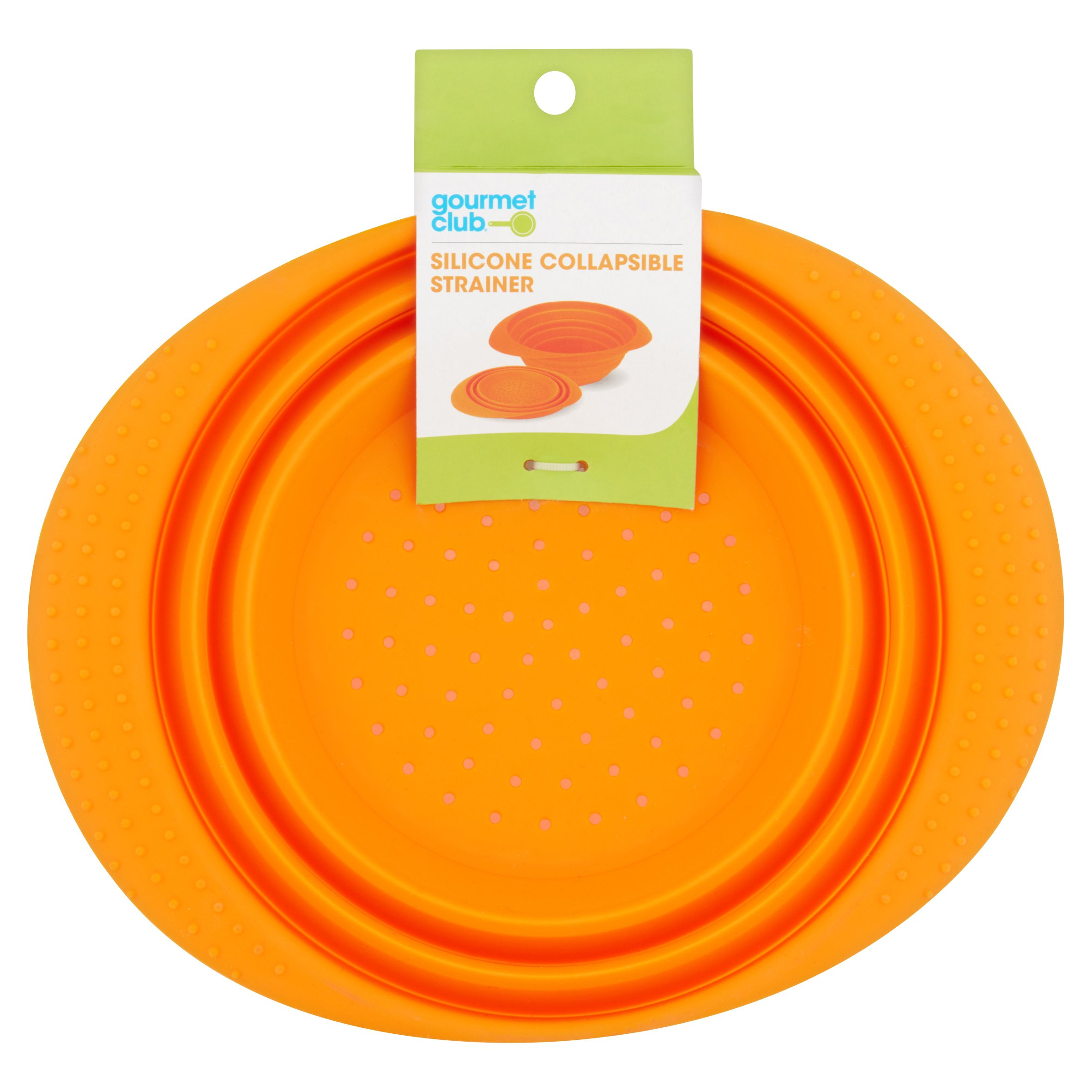 Click here to buy Gourmet Club Silicone Collapsible Strainer by Best Brands Consumer Products, Inc. c/o Best Brands Sales Company LLC.