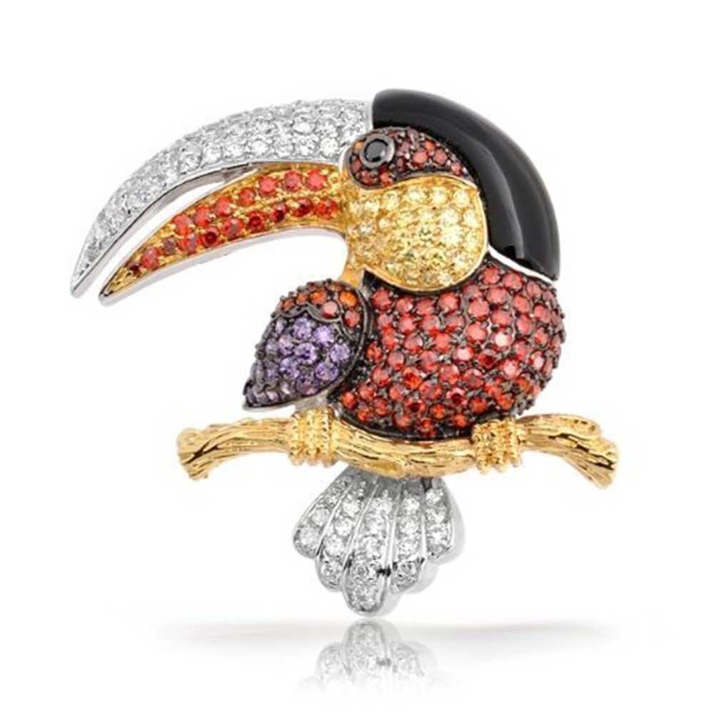 Bling Jewelry Multi Color Pave Cubic Zirconia Gold Plated Tucan Brooch Pin by Bling Jewelry