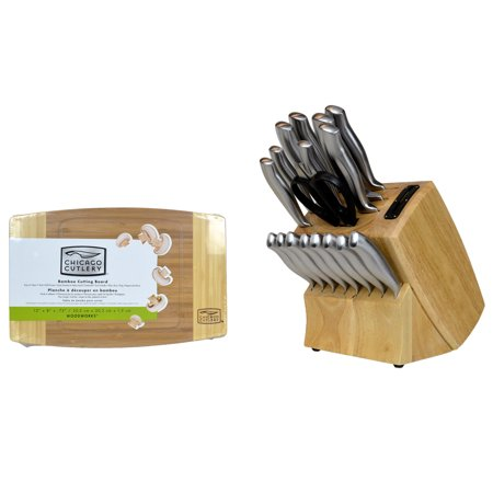 Chicago Cutlery Insignia Steel 19-Piece Wood Block Knife Set with Cutting