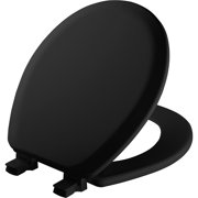 Mayfair Lift off Round Enameled Wood Toilet Seat in Black with STA-TITE