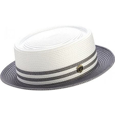 Montique Pork Pie Straw Two Tone Hat H-51 (Large, Grey)](Grad Hat)