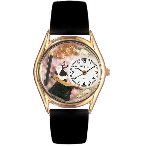 Whimsical Watches Women's Magic Black Leather and Gold Tone Watch