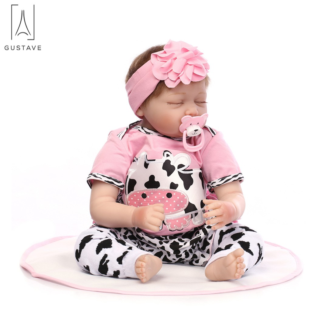 "GustaveDesign Real Like Reborn Baby Doll 22"" Silicone Vinyl Handmade Sleeping Doll For Kids Chirstmas Gift"