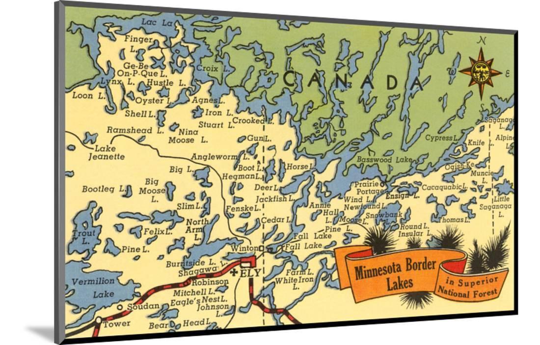 photo regarding Printable Map of Minnesota identify Map of Minnesota Border Lakes Wooden Preset Print Wall Artwork