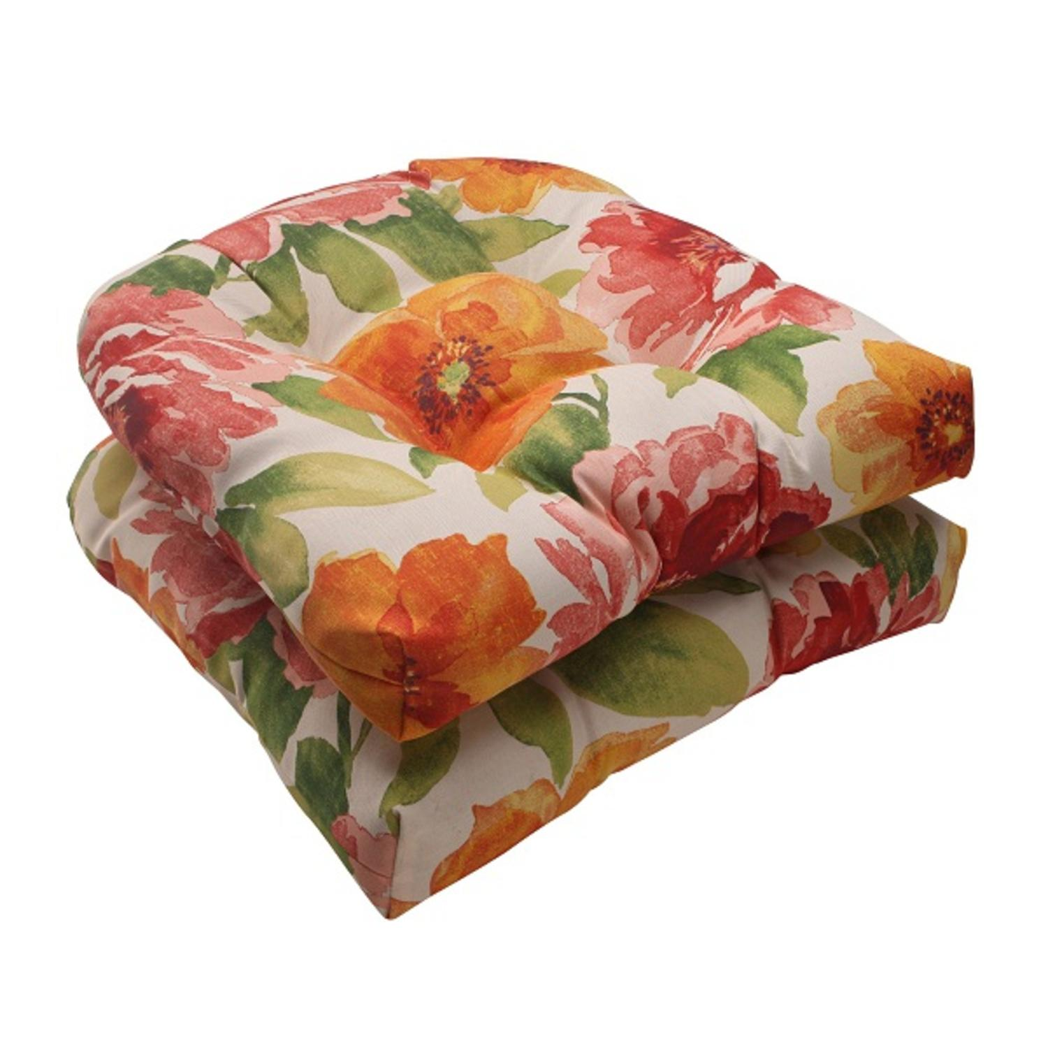 """Set of 2 White Floral Splash Outdoor Patio Tufted Wicker Seat Cushions 19"""""""