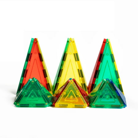 Magnetic Triangle (Shape Mags 48 Piece Magnetic Triangles Set. Includes 4 Triangle Shapes; Durable Sturdy Magnetic)