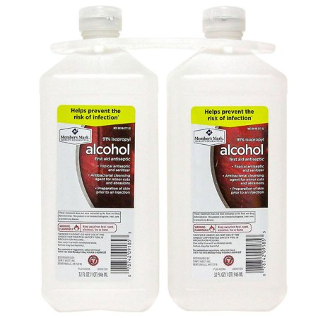 Member's Mark 91% Isopropyl Alcohol - 32 Ounce pack of 2 (32 Oz Rubbing Alcohol)