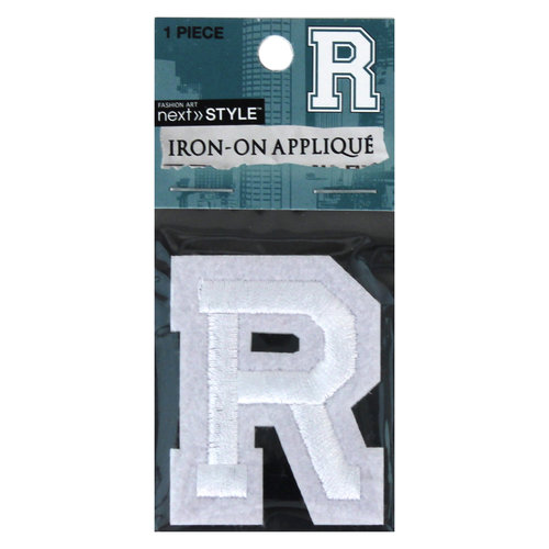 "Next Style Single Embroidery Letter, ""R"", White"