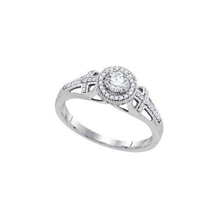 10k White Gold Womens Round Diamond Bridal Wedding Engagement Anniversary Ring 3/8 Cttw - image 1 de 1