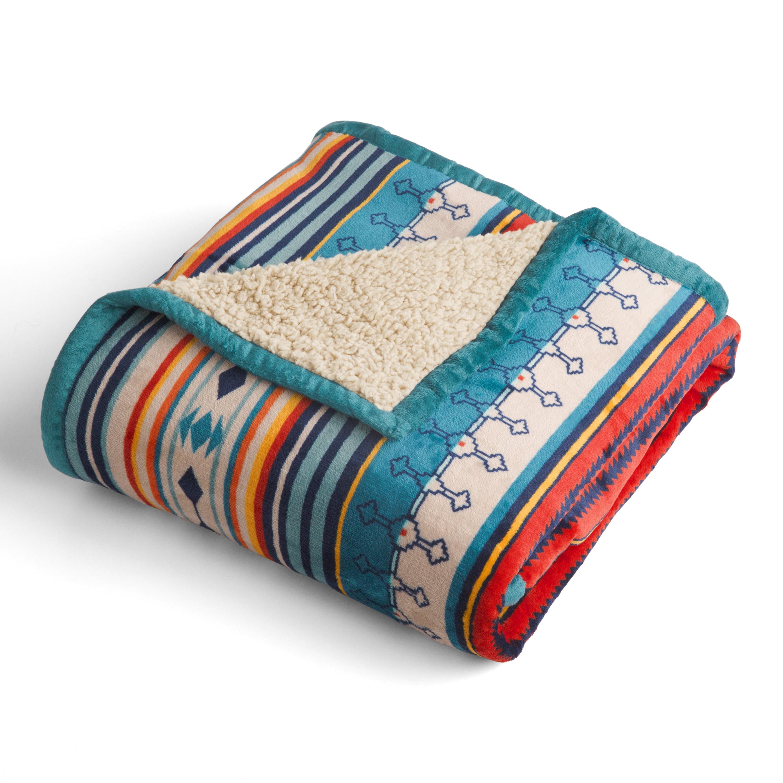 Better Homes & Gardens Velvet Plush to Sherpa Desert Stripes Throw Blanket, 1 Each