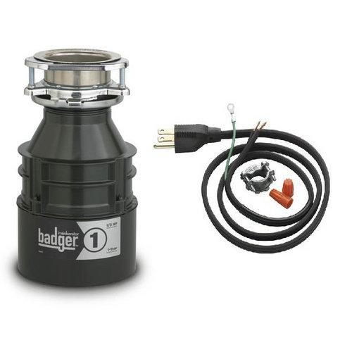 InSinkErator  Badger 1  Garbage Disposal  Badger  Faucet  Continuous  ;Power Cord Included