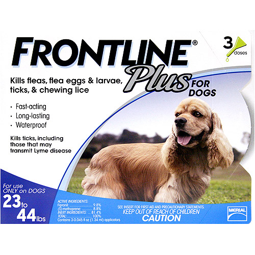 Frontline Plus For Dogs Flea, Tick, and Lice Control For Dogs 23-44lbs, 3 Month Supply