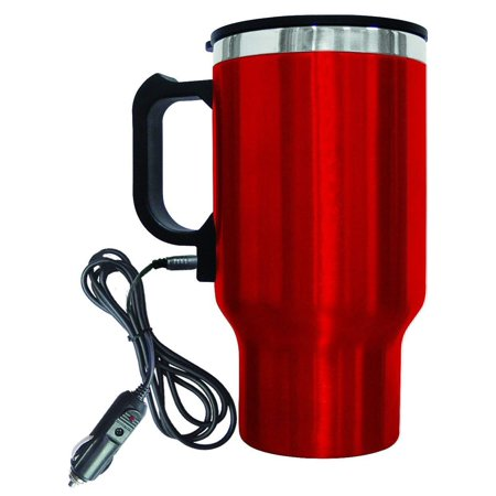 Electric Coffee or Tea Mug Stainless Steel Portable Coffee Mug with Wire Car Plug 16oz (Best Portable Coffee Mug)