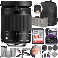 Sigma 18-300mm F3.5-6.3 Contemporary DC Macro OS HSM Lens for Canon with Bundle