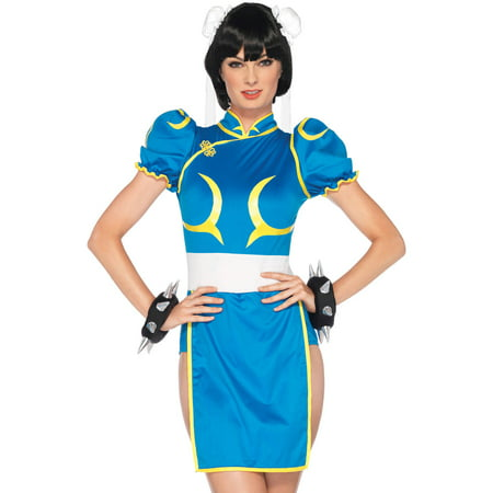 Leg Avenue Women's Street Fighter 3 Piece Chun-Li Costume, Blue, Medium/Large (Chun Li Halloween)
