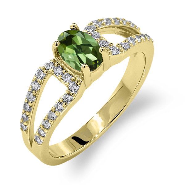 1.33 Ct Oval Green Tourmaline 14K Yellow Gold Ring by