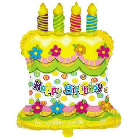 XL 28 Happy Birthday Cake Super Shape Mylar Foil Balloon Party Decoration