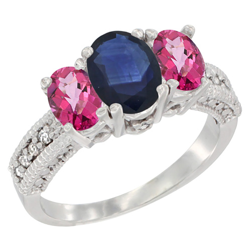 10K White Gold Diamond Natural Blue Sapphire Ring Oval 3-stone with Pink Topaz, sizes 5 10 by WorldJewels