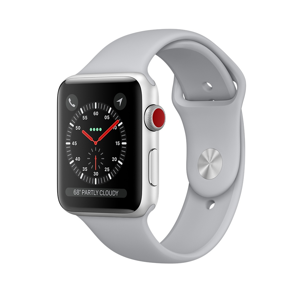 Refurbished Apple Watch Gen 3 Series 3 Cell 42mm Silver Aluminum - Fog Sport Band MQK12LL/A