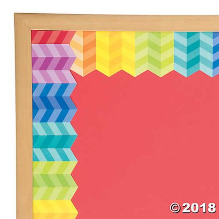 Painted Palette™ Rainbow Herringbone Bulletin Board Border - Borders For Bulletin Boards