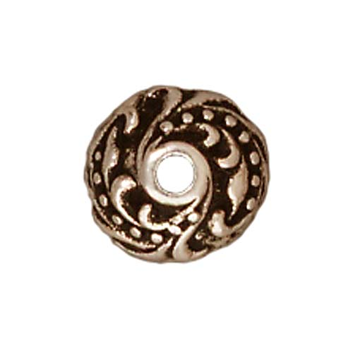 Fine Silver Plated Pewter Ivy Bead Caps 7.5mm (4)