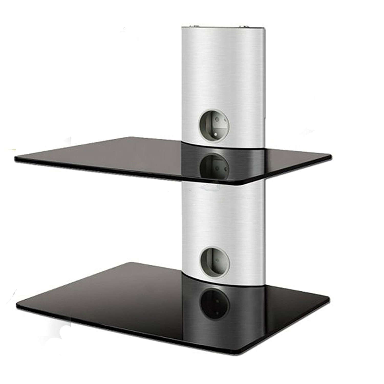 2xhome Double Aluminum Under TV Tempered Glass Shelves Dual Shelf 2 Tier Wall Mount Mounted Bracket Shelving Management... by 2xhome