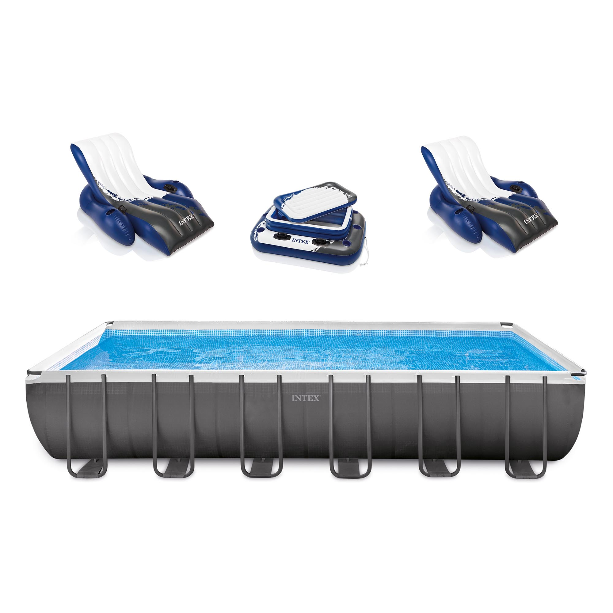 Click here to buy Intex Swimming Pool Set w  Loungers, Sand Filter Pump, Floating Cooler & Ladder by Intex.