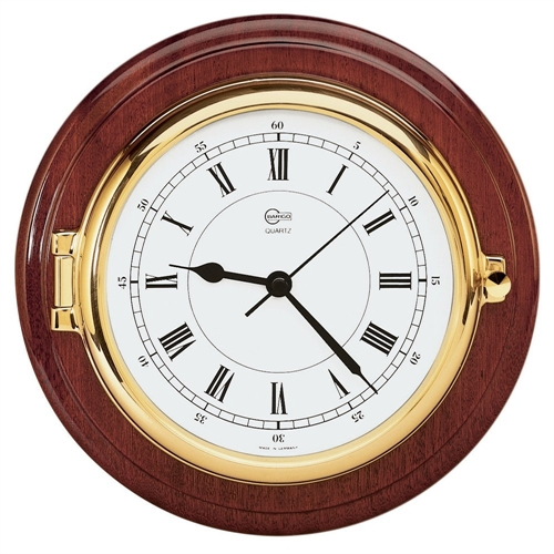 Barigo CLOCK 6-inch DIAL BRASS & MAHOGANY CAPTAIN SERIES 1587MS