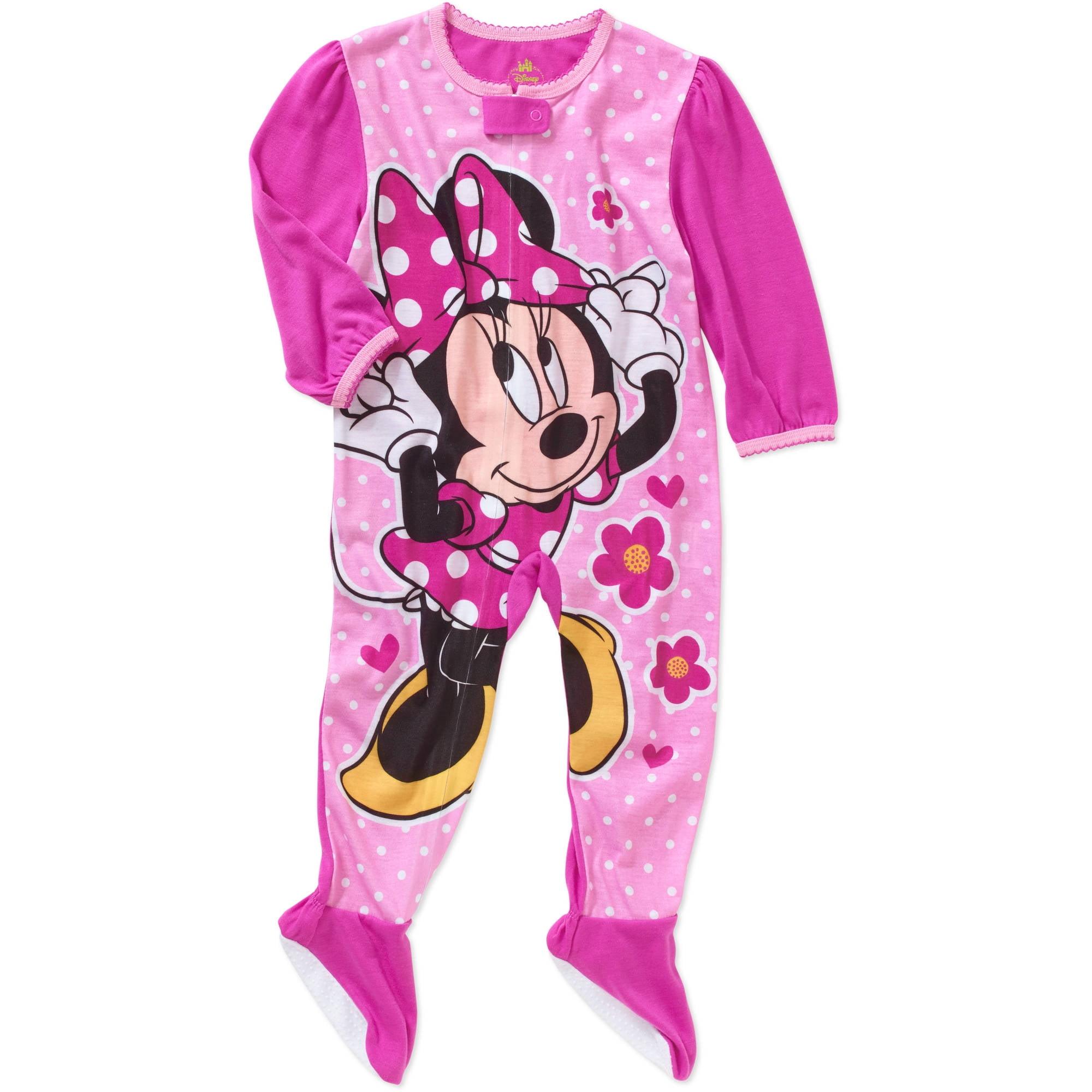 224e996406 Disney - Disney Girls  Minnie Mouse Hooded Blanket Sleeper Pajama Onesie -  Walmart.com
