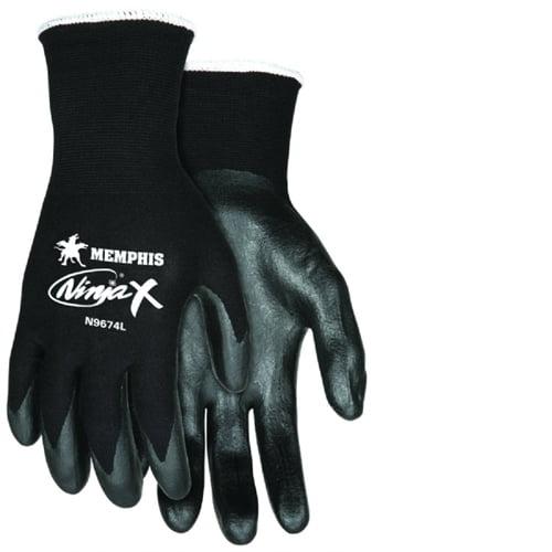 MCR Safety Unique Shell Nylon Safety Gloves - Small Size - Nylon, Lycra, Polymer - Black - Anti-bacterial - 1 Each
