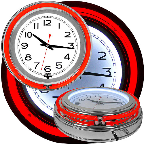"14"" Double Ring Neon Clock Red Outer and White Inner Ring"